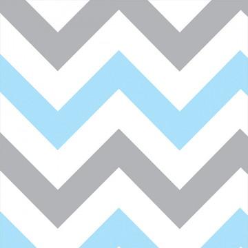 Papel de Parede Chevron Quarto Bebê Azul e Branco Cinza