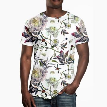 Camiseta Masculina Floral Aquarela Estampa Digital