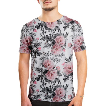 Camiseta Masculina Floral E Folhas Estampa Digital