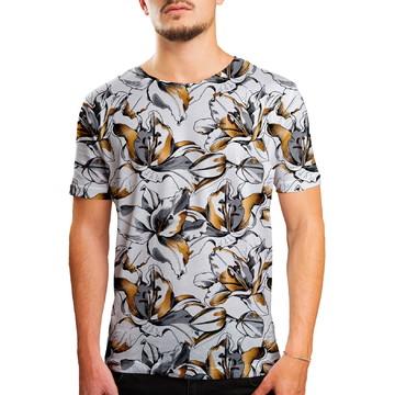 Camiseta Masculina Floral Lírios Dourados Estampa Digital