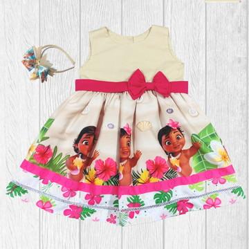 Vestido Moana Baby Aniversário Temático Infantil + Tiara