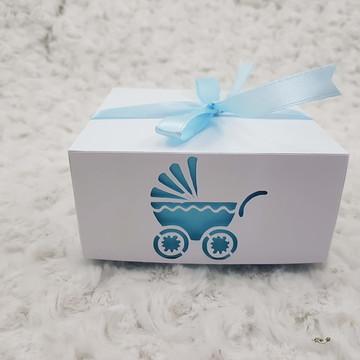 Caixa carrinho de Bebe personalizado Azul
