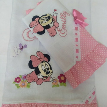 Kit de Fraldas Bordadas Minnie Baby