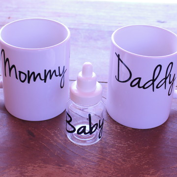 Caneca sublimada - Mommy Daddy Baby Mamãe Papai Bebê