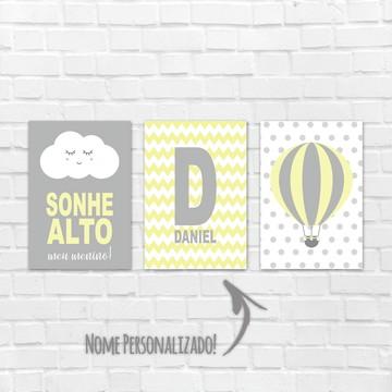 Placas Decorativas MDF - Sonhe Alto Meu Pequeno - balão