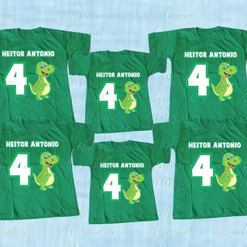 kit 6 Camisetas Divertidas dinossauros