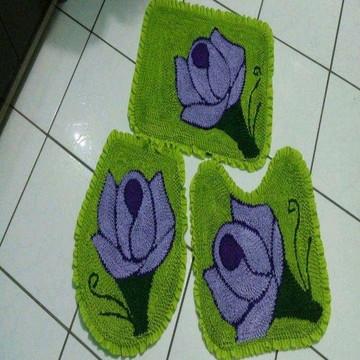 Jogo de Tapete 3 Peças Para Banheiro fru fru