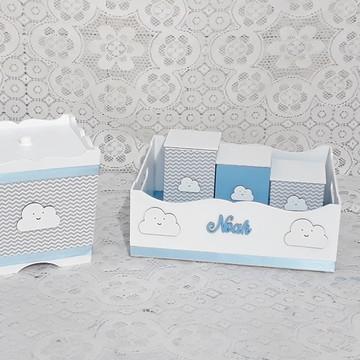 Kit higiene bebê Chevron Nuvens