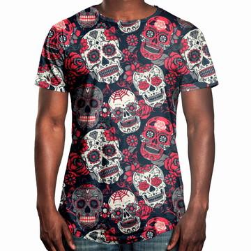 fee94f602 Camiseta Masculina Longline Swag Caveiras Mexicanas