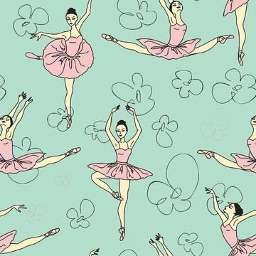 Papel Parede Bailarinas Sobre Verde Água