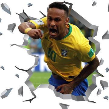 Adesivo Buraco Parede Quebrada Neymar Brasil Quarto Filho 3d