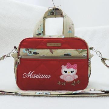 7066d726a Bolsa de Bebê Personalizada Pequena Vermelho Coruja