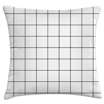 capa de almofada quadrados preto e branco
