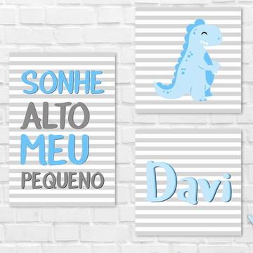 Placas Decorativas MDF - Sonhe Alto - Nome - Dinossauro