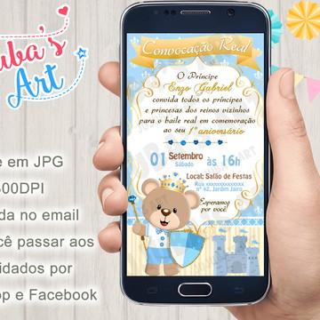Convite Digital Urso Príncipe para Whatsapp