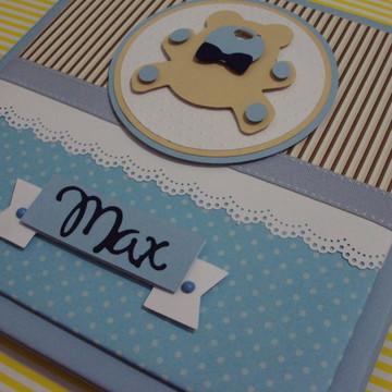 álbum bebê diário ursinho personalizado scrapbook menino