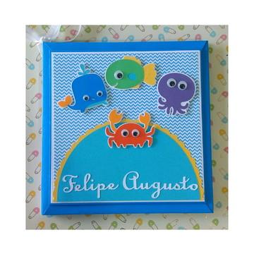 79d073813 Livro Bebe Personalizado Fundo do Mar Menino Scrapbook