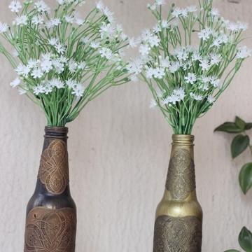 Garrafas vidro decorativas com Flores permanentes