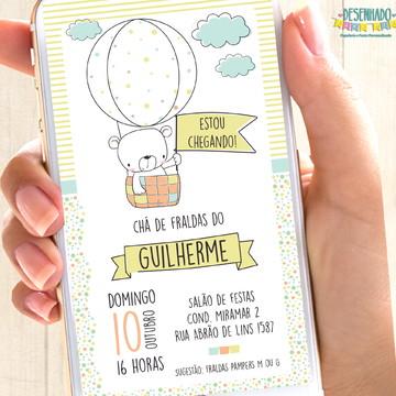 Convite Digital Ursinho Balão