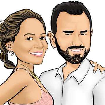 Caricatura de noivos casamento