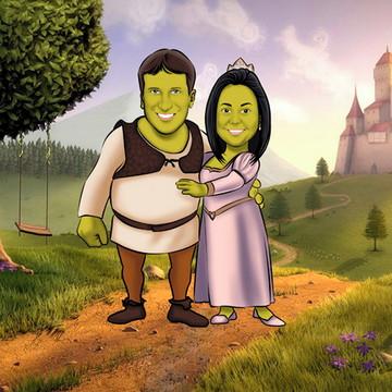 Caricatura de noivos com cenário