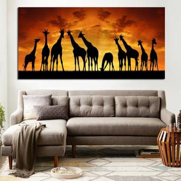 Pintura em tela quadro Girafas na Africa (180 comp x 90 alt)