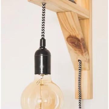 Luminaria de parede suporte madeira