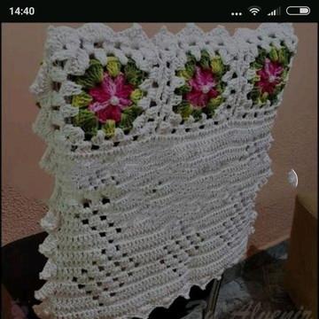 Capa de cadeira de crochê