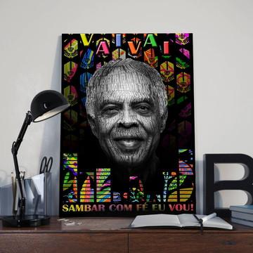 Quadro Poeta Gilberto Gil - Tamanho 30X40 cm