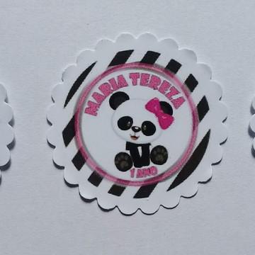 Adesivo redondo 5X5 Ursinha Panda 1