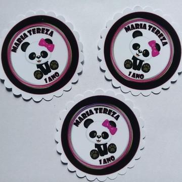 Adesivo redondo 5X5 Ursinha Panda 2