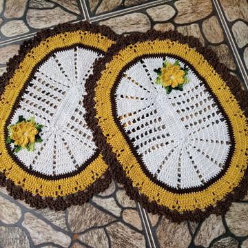 Tapete de crochê oval com flores, 2 pçs