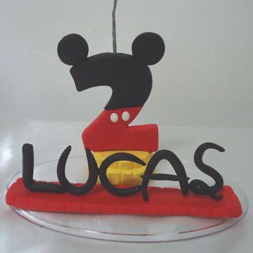 Vela Topo Bolo Personalizado Do Mickey