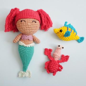 Ariel - Pequena Sereia de Crochê (Amigurumi)