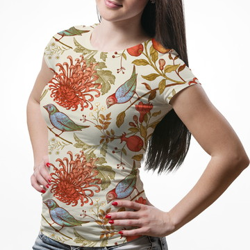 ead130dcf Camiseta Baby Look Feminina Flor Crisântemo Pássaros