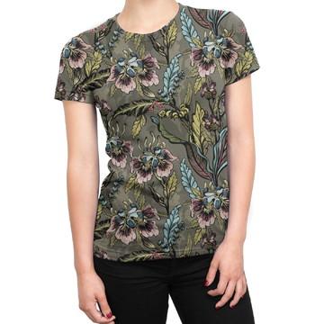 da96b597e Camiseta Baby Look Feminina Flores E Folhas Estampa Total