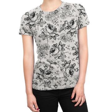 9fc386a46 Camiseta Baby Look Feminina Flores Selvagens Estampa Total