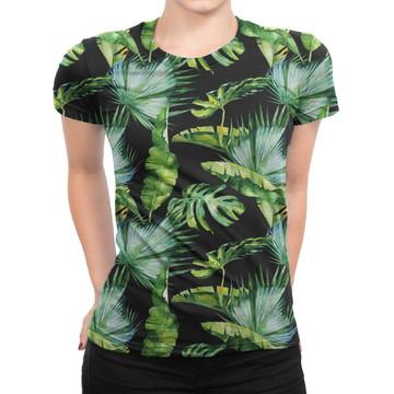 4df0e5a3b Camiseta Baby Look Feminina Folhas Tropicais Estampa Total