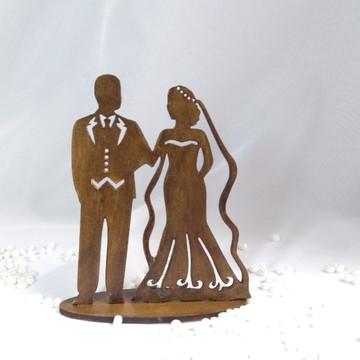 Noivinhos topo de bolo MDF casamento rústico