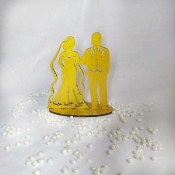 Noivinhos topo de bolo MDF dourado casamento rústico