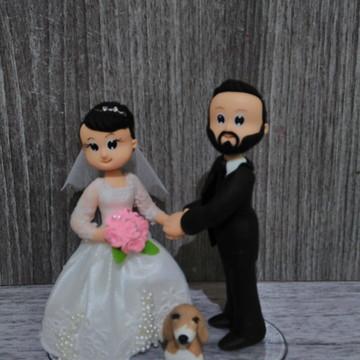 Topo de bolo para casamento com cachorro