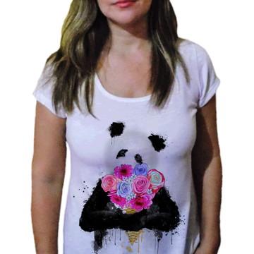 Camiseta Feminina Urso panda romantico - 21 camiseteria