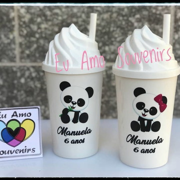 Copo Chantilly 500 ml com Tampa e Canudo Panda