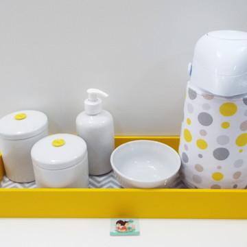 Coleção Geométricos Kit Higiene Bebê Chevron e Poá Amarelo