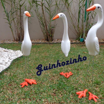Trio garça em Cerâmica para decora jardim, chacara, casa