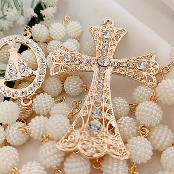 Terço para noiva dourado