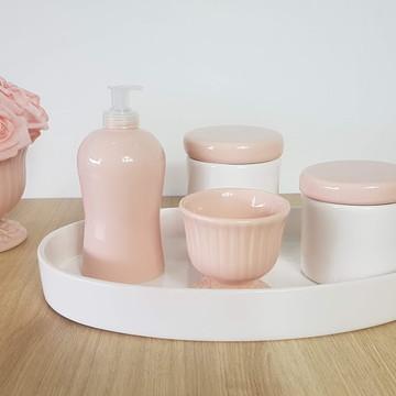 Kit Higiene Bebe Menina Porcelana Rosa e Branco Bandeja Oval