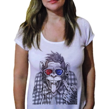 Camiseta Feminina macaco louco - 21 camiseteria