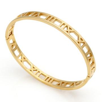 Pulseira Algarismo Romanos Cor Dourada Tamanho 17cm