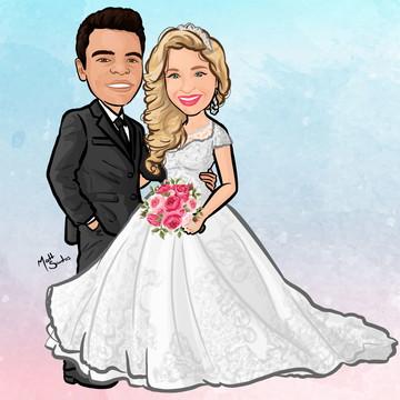 Caricatura de Casal de Noivos - Vetor